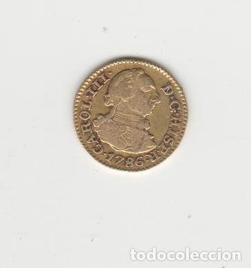 CARLOS III- 1/2 ESCUDO- 1786-MADRID-DV-ORO (Numismática - España Modernas y Contemporáneas - De Reyes Católicos (1.474) a Fernando VII (1.833))