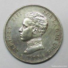 Monedas de España: ALFONSO XIII, 1905. 2 PESETAS DE PLATA 1905 * 19 - 05. CECA DE MADRID-S.M.V. LOTE 3493. Lote 221751026
