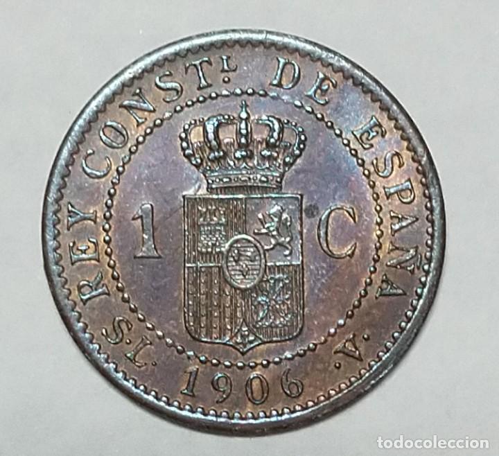 Monedas de España: ANTIGUA MONEDA DE ESPAÑA UN CENTIMO ALFONSO XIII 1906 - Foto 2 - 221824722