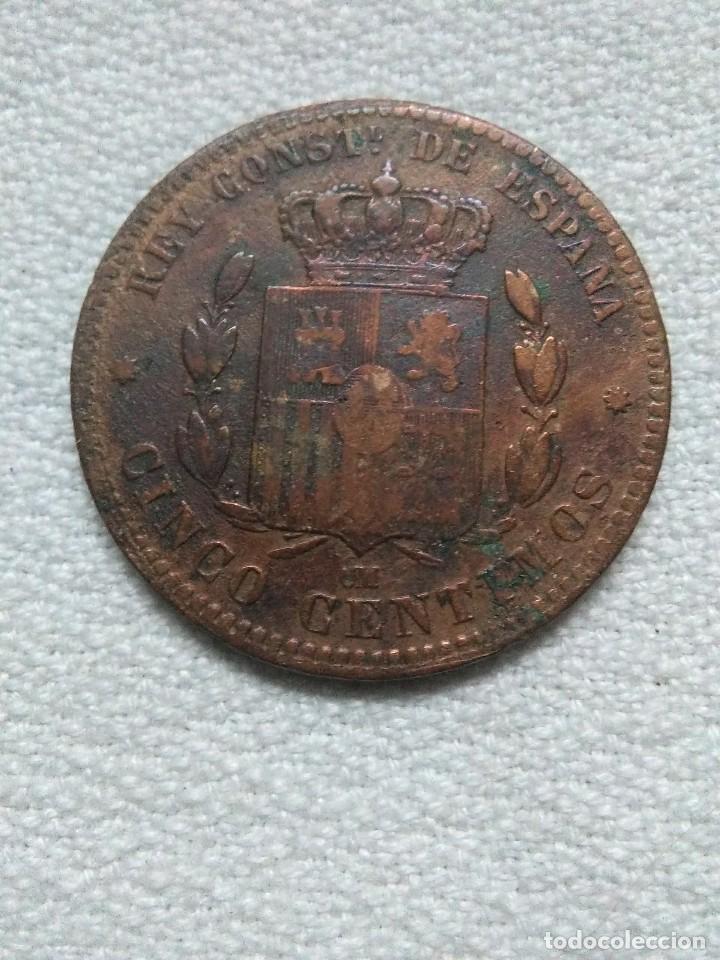 Monedas de España: moneda de cobre 5 centimos UM (posible sea rara) del rey alfonso XII de 1879.muy bien conservada - Foto 2 - 221886341