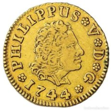 Monedas de España: FELIPE V (1700-1746) 1/2 ESCUDO DE ORO, MADRID, 1744. J.A.. Lote 221889896
