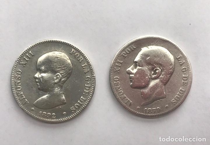 S-DOS PESETAS DE PLATA ALFONSO XII 1879 Y ALFONSO XIII 1892 (Numismática - España Modernas y Contemporáneas - De Isabel II (1.834) a Alfonso XIII (1.931))