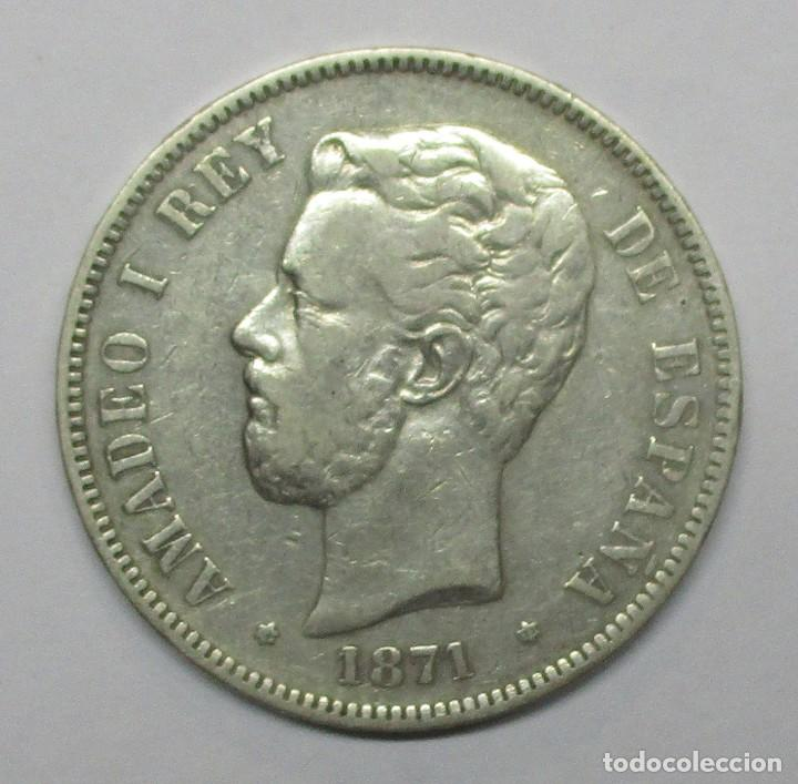 AMADEO I, 5 PESETAS DE PLATA 1871 * 18 - 71. CECA DE MADRID-S.D.M. DURO DE PLATA. LOTE 3389 (Numismática - España Modernas y Contemporáneas - De Isabel II (1.834) a Alfonso XIII (1.931))