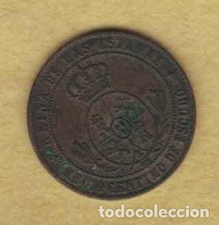 Monedas de España: Isabel II 1868 OM. Medio céntimos de escudo. Jubia.M023 - Foto 2 - 222113595