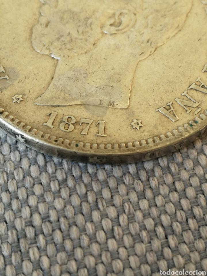 Monedas de España: 5 pesetas Amadeo I 1871 18 - 75 DEM - Foto 2 - 222118380