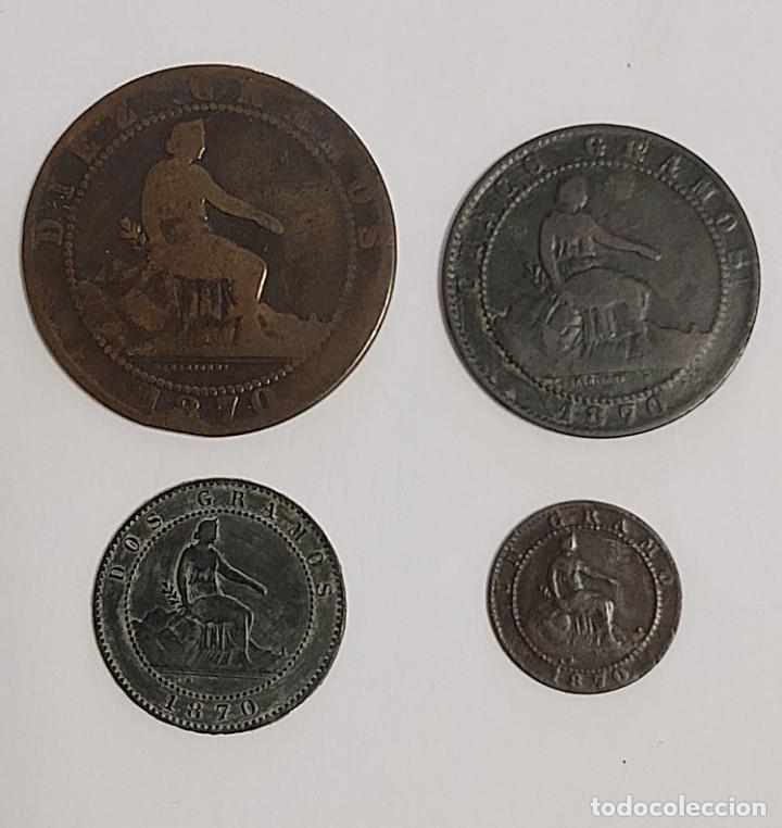 LOTE 1, 2, 5 Y 10 CÉNTIMOS 1870. VER FOTOS (Numismática - España Modernas y Contemporáneas - De Isabel II (1.834) a Alfonso XIII (1.931))