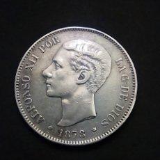 Monedas de España: ALFONSO XII 5 PESETAS 1878*18*78 EM M PLATA EBC PESO 24,84 GRAMOS ESTRELLAS MUY VISILES. Lote 222433343