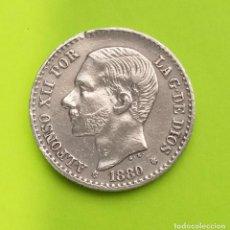 Monedas de España: ANTIGUA MONEDA DE ESPAÑA 50 CENTIMOS 1880 ALFONSO XII, PLATA 835. Lote 222503778