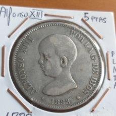 Monedas de España: 5 PTAS DE 1888 PLATA, ALFONSO XIII M•P• M. Lote 222551193