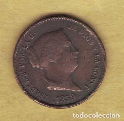 ISABEL II. 1859. 10 CÉNTIMOS DE REAL. SEGOVIA. 064 (Numismática - España Modernas y Contemporáneas - De Isabel II (1.834) a Alfonso XIII (1.931))