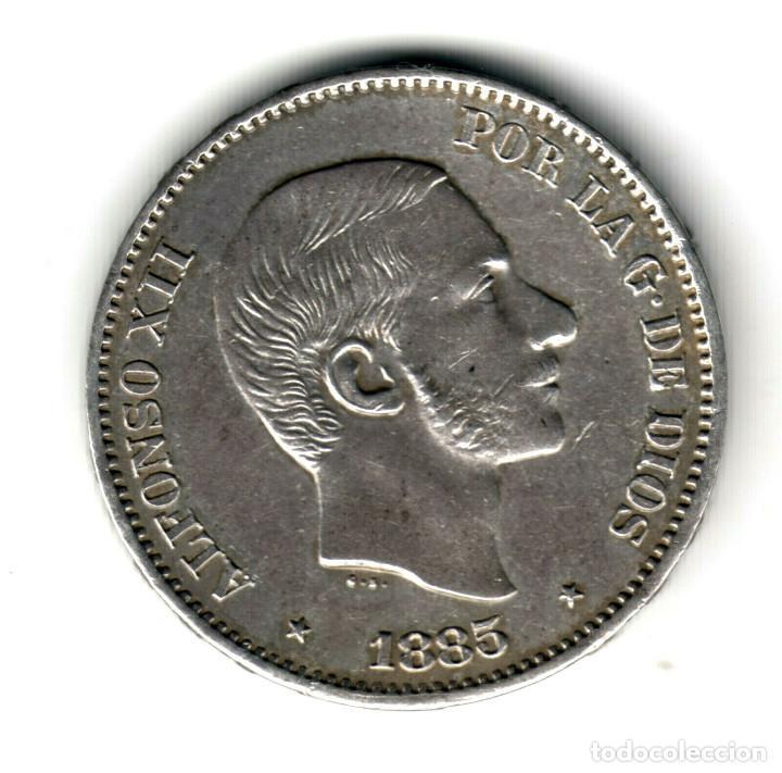 ESPAÑA 50 CENTAVOS DE PESO PLATA 1885 ALFONSO XII MANILA (ISLAS FILIPINAS) S/C (Numismática - España Modernas y Contemporáneas - De Isabel II (1.834) a Alfonso XIII (1.931))