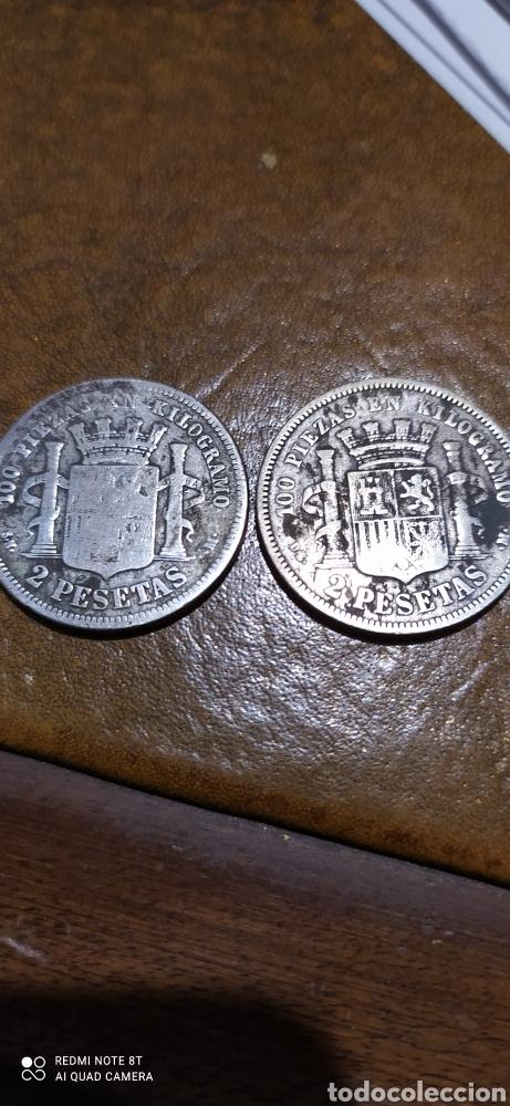 Monedas de España: Par de 2 pesetas 1869-70 - Foto 2 - 224357418