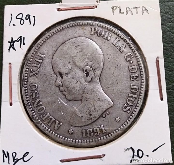 DURO DE PLATA 5 PESETAS ALFONSO XIII 1891 *--91 ESPAÑA (Numismática - España Modernas y Contemporáneas - De Isabel II (1.834) a Alfonso XIII (1.931))