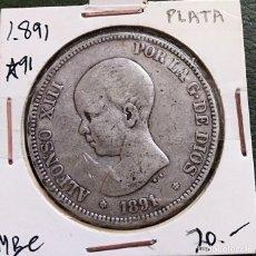 Monedas de España: DURO DE PLATA 5 PESETAS ALFONSO XIII 1891 *--91 ESPAÑA. Lote 225290060