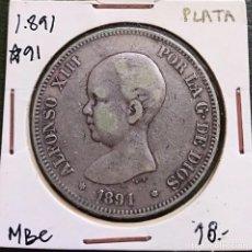 Monedas de España: DURO DE PLATA 5 PESETAS ALFONSO XIII 1891 *--91 ESPAÑA. Lote 225290190