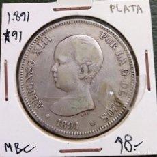 Monedas de España: DURO DE PLATA 5 PESETAS ALFONSO XIII 1891 *--91 ESPAÑA. Lote 225290330