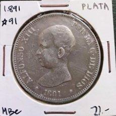 Monedas de España: DURO DE PLATA 5 PESETAS ALFONSO XIII 1891 *--91 ESPAÑA. Lote 225290422