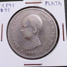 Monedas de España: DURO DE PLATA 5 PESETAS ALFONSO XIII 1891 *--91 ESPAÑA. Lote 225290505