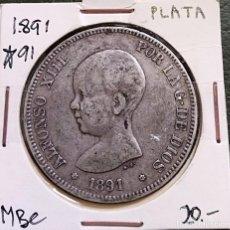 Monedas de España: DURO DE PLATA 5 PESETAS ALFONSO XIII 1891 *--91 ESPAÑA. Lote 225290595