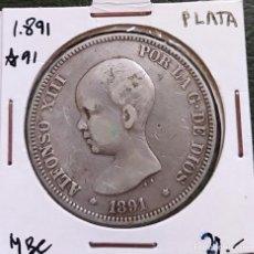 Monedas de España: DURO DE PLATA 5 PESETAS ALFONSO XIII 1891 *--91 ESPAÑA. Lote 225290705