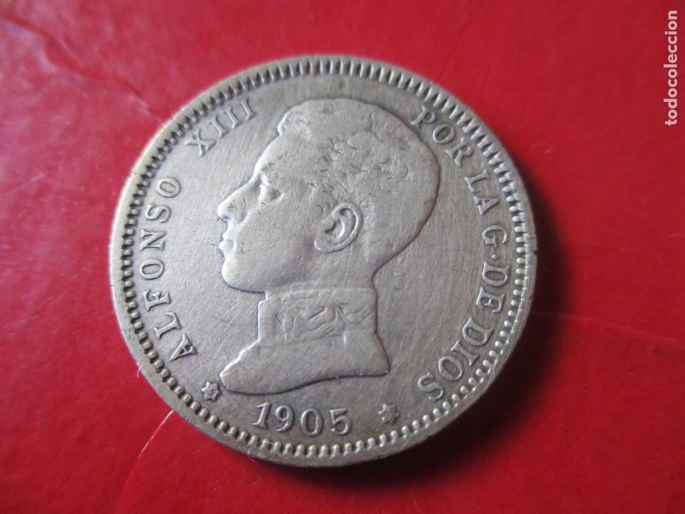 ALFONSO XIII. 1 PTA. 1905 SMV. MUY RARA. ·#SG (Numismática - España Modernas y Contemporáneas - De Isabel II (1.834) a Alfonso XIII (1.931))