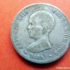 Monedas de España: MONEDA - 1892 - 2 PESETAS - PLATA - ALFONSO XIII - PGM - KM 692 BC. Lote 226633725