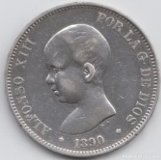 Monedas de España: 5 PESETAS ALFONSO XIII - 1890 - MPM. Lote 226638115