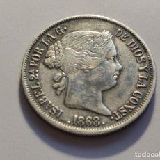 Monedas de España: 20 CENTAVOS DE PESO MANILA ISABEL II 1868 MBC+. Lote 226640832