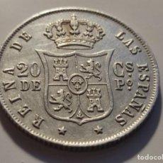 Monedas de España: 20 CENTAVOS DE PESO MANILA ISABEL II 1868 EBC BRILLO ORIGINAL Y PATINA. Lote 226642350