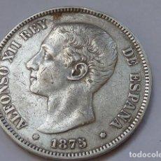 Monedas de España: VARIANTE DOBLE ERROR ESCUSON EN PATILLA Y OREJA RALLADA 5 PESETAS 1875 DE ALFONSO XII PLATA LOTE. Lote 226842030