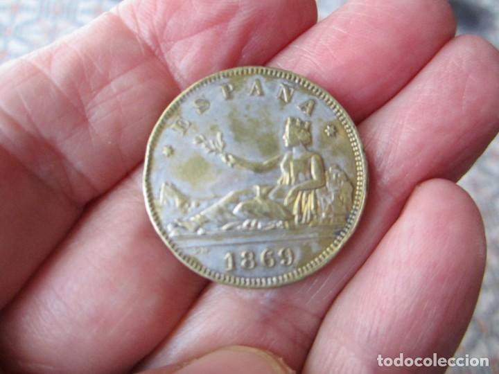 MONEDA DE 2 PESETAS DE LA 1ªREPUBLICA 1869 FALSA DE ÉPOCA LEER DESCRIP (Numismática - España Modernas y Contemporáneas - De Isabel II (1.834) a Alfonso XIII (1.931))