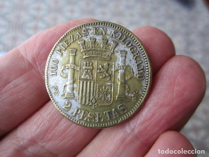 Monedas de España: MONEDA DE 2 PESETAS DE LA 1ªREPUBLICA 1869 FALSA DE ÉPOCA LEER DESCRIP - Foto 2 - 228610290