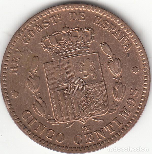 Monedas de España: ALFONSO XII: 5 CENTIMOS 1879 - Foto 2 - 229369885