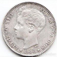 Monedas de España: 1 PESETA PLATA ALFONSO XIII 1900 ESTRELLAS 19 00. Lote 229874205
