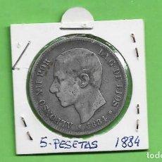Monedas de España: PLATA-ESPAÑA 5 PESETAS 1884 *84 MSM. ALFONSO XII. Lote 234759815