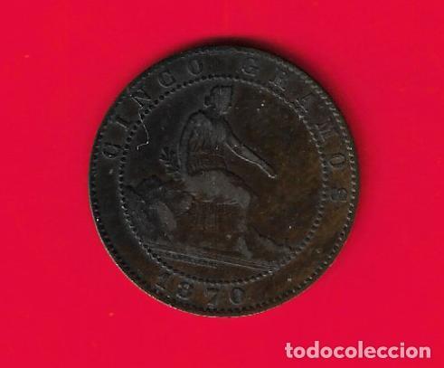 Monedas de España: ESPAÑA 5 CENTIMOS 1870 - Foto 2 - 234898880