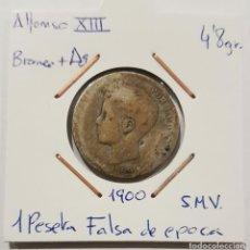 Monedas de España: ALFONSO XIII, 1 PESETA, DE 1900, SMV, FALSA DE EPOCA.. Lote 235161530