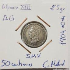 Monedas de España: ALFONSO XIII, 50 CENTIMOS DE PLATA, DE 1904, *0 *4, SMV, CECA MADRID. ORIGINAL.. Lote 235252070