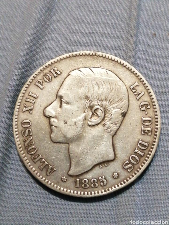 5 PESETAS DE PLATA 1885 ESTRELLA 87 EXCELENTE (Numismática - España Modernas y Contemporáneas - De Isabel II (1.834) a Alfonso XIII (1.931))