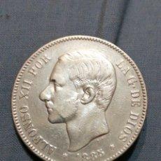 Monedas de España: 5 PESETAS DE PLATA 1885 ESTRELLA 87 EXCELENTE EBC. Lote 235296550