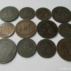 Monedas de España: GRAN LOTE DE 12 MONEDAS DE ISABEL II-GOBIERNO PROVISIONAL -ALFONSO XII. Lote 235344175