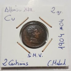 Monedas de España: ALFONSO XIII, 2 CENTIMOS, DE 1904, *04, SMV, CECA MADRID, PATINA PRECIOSA. ORIGINAL.. Lote 235414620