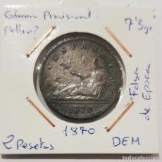Monedas de España: GOBIERNO PROVISIONAL, 2 PESETAS, DE 1870, DEM, FALSA DE EPOCA.. Lote 235450610