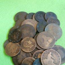 Monedas de España: LOTE DE 35 MONEDAS DE COBRE VARIOS AÑOS Y ESTADOS. EN ESTE LOTE NO SE ACEPTA CORREO ORDINARIO. Lote 235465310