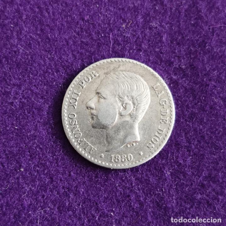 MONEDA DE 50 CENTIMOS DE ALFONSO XII. BUSTO PEQUEÑO. PLATA. 1880 *8-0. ESPAÑA. ORIGINAL. (Numismática - España Modernas y Contemporáneas - De Isabel II (1.834) a Alfonso XIII (1.931))