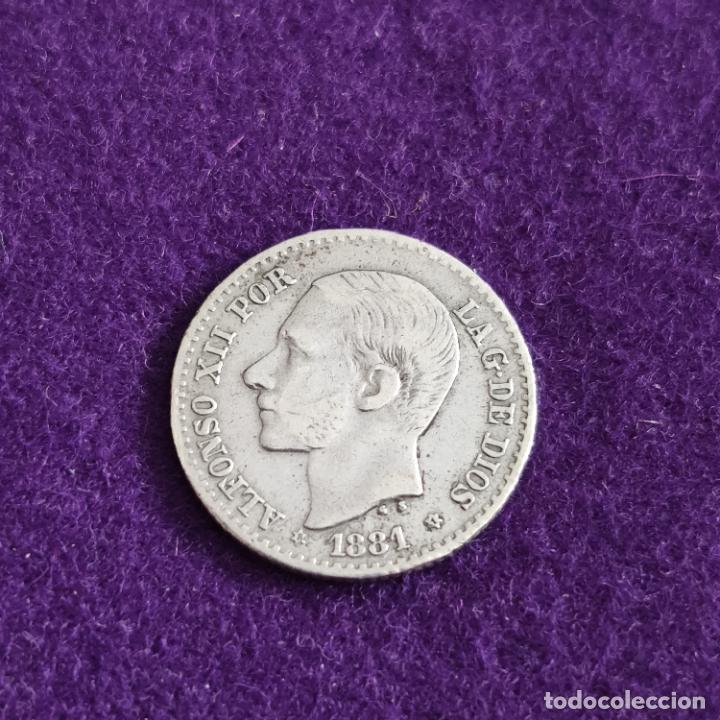 MONEDA DE 50 CENTIMOS DE ALFONSO XII. PLATA. 1881 *8-1. ESPAÑA. ORIGINAL. (Numismática - España Modernas y Contemporáneas - De Isabel II (1.834) a Alfonso XIII (1.931))