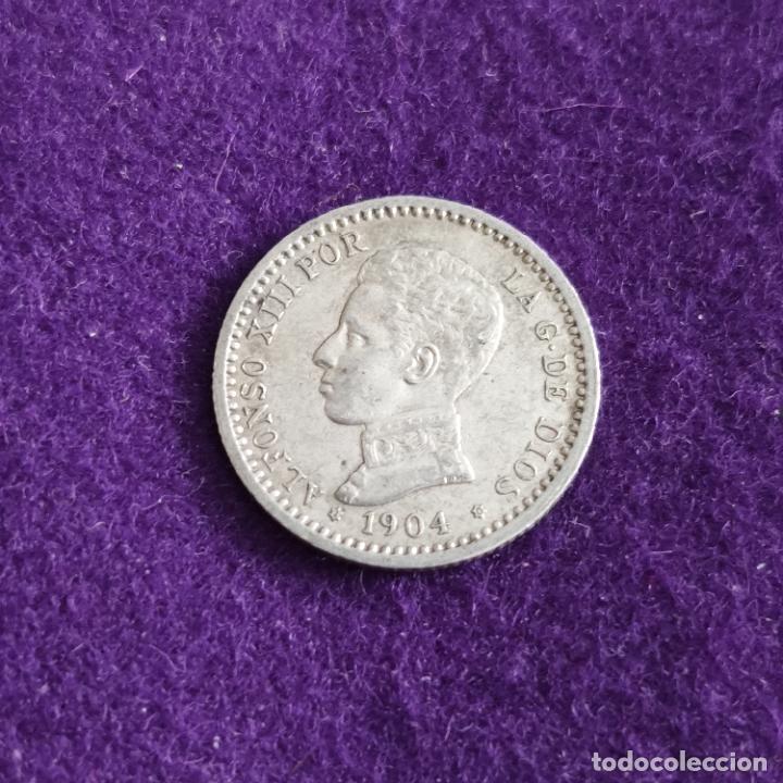 MONEDA DE 50 CENTIMOS DE ALFONSO XIII. PLATA. 1904 *1-0. ESPAÑA. ORIGINAL. (Numismática - España Modernas y Contemporáneas - De Isabel II (1.834) a Alfonso XIII (1.931))