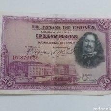 Moedas de Espanha: BILLETE 50 PESETAS MADRID 1928. Lote 235825870