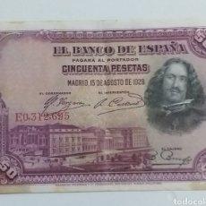 Monedas de España: BILLETE 50 PESETAS MADRID 1928. Lote 235826250