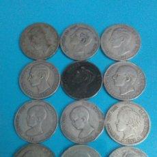 Monedas de España: LOTE 12 MONEDAS,5 PESETAS,PLATA,AMADEO I,ALFONSO XII,ALFONSO XIII,1871,1875,1877,1878,1879,1885,1888. Lote 236221440